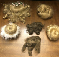 Vtg LOT of 6 Doll Wigs Blonde Brunette Med & Small