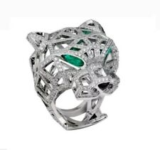 Panthere Solid 925 Sterling Silver Diamond Engagement & Wedding Ring For Men