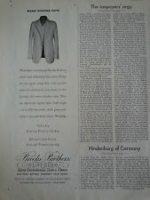 1932 Brooks Brothers Mens Clothing Warm Weather Suits Fashion Clothing Ad