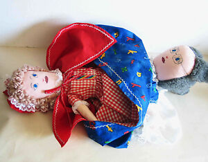 "VTG Handmade Topsy Turvy Doll Little Red Riding Hood Wolf Grandma 19"" FREE SH"