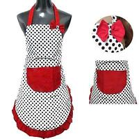 Women Kitchen Restaurant Bib Cooking Apron With Pocket Dot BowKnot Apron Gift
