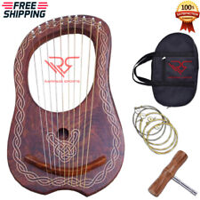 Traditional Lyre Harp 10 Metal String Sheesham Wood Free Carrying Bag & Key/Lyra