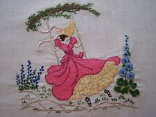VINTAGE HAND EMBROIDERY PANEL PICTURE CRINOLINE LADY ON A SWING