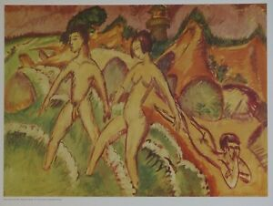 Ernst Ludwig Kirchner, Striding into the Sea - 1912. German Expression, Nude.
