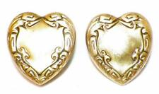 2 Brass Heart Button Covers Embossed Scrolls #65