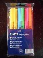 6 x Non Toxic HIGHLIGHTER MARKER PENS Assorted Colours
