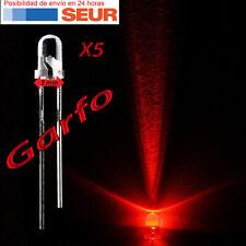 5X Diodo LED 3 mm Rojo 2 Pin alta luminosidad