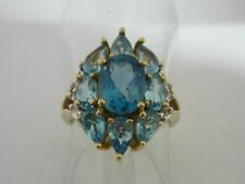 Stunning Large Vivid Swiss & London Blue Topaz & Diamond 9k Gold Ring Size K
