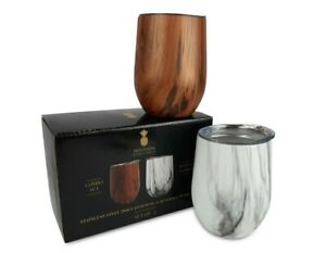 Stainless Steel Insulated Wine Glasses & Beverage Tumbler w/Lids, Set of 2, 12oz