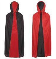 HALLOWEEN VAMPIRE CAPE DRACULA HOODED CLOAK ROBE REVERSIBLE DEVIL WIZARD COSTUME