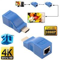 2x 1080P HDMI Extender auf RJ45 über Cat5e/6 Netzwerk LAN Ethernet HDTV Adap BOD