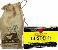 Bustelo Gourmet Ground Coffee 10 oz pack in a decorated burlap Free Shipping