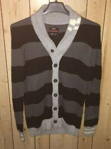 Union Bay Mens Size Medium Sweater Cardigan Black Gray Stripe