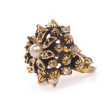 Vintage Gold Tone Plated Adjustable Flower Ring w/ Rhinestones .75""