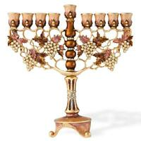 "7.25""Tall HandPainted Menorah Candelabra Embellished 24K Gold-High Quality Cryst"
