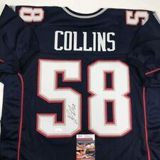 Autographed/Signed JAMIE COLLINS New England Blue Football Jersey JSA COA Auto