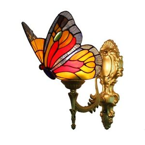 Butterfly Bathroom Mirror Front Wall Lamps Baroque Tiffany Stained Glass Lights