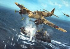 ORIGINAL WW2 MILITARY AVIATION ART PAINTING BEAUFIGHTERS VS NAZI SHIPPING WWII