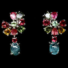 NATURAL FANCY COLOR TOURMALINE STERLING 925 SILVER EARRINGS