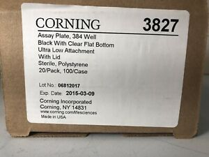 Corning 3827--384-well Assay Plate Black Clear Bottom - Box  of 20 - new