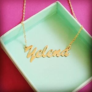 Gold Nametag Name tag Necklace