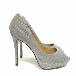 Badgley Mischka Ponderosa Silver Sparkle Formal Shoes Heels 7.5