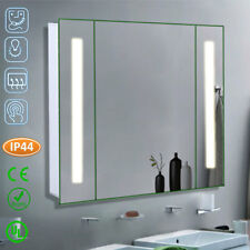 Wall Hung Bathroom LED Mirror Cabinet with Glass 2 Shelves Shaver Socket Sensor