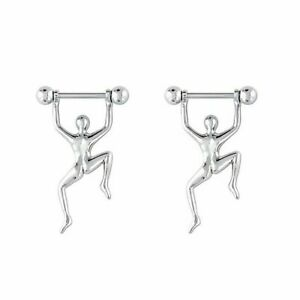 Nipple Rings With Hang Man 316l Surgical Steel 14G 5/8 Length Sold as Pair
