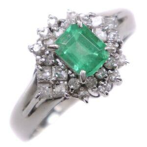 Ring Pt900Platinum/Emerald/diamond #13(JP Size) Women