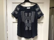Velvet By Graham And Spencer Top, Navy, Aztec, Boho, Size Small