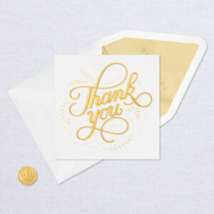 Hallmark Thank You Card by Signature ~ Gold 3D Script Thank you So Very Much