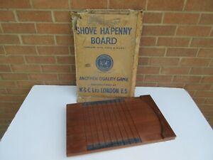 Vintage traditional Shove Ha'penny halfpenny wooden board pub game boxed