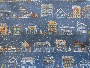 18 x 18 Pillow Cover With Decorated Houses & Blue Background Home Décor Fabric