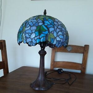 Tiffany Style Lamp Blue Glass Tree  Base 20 Inch High