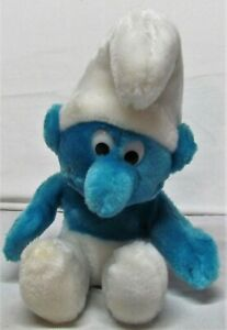 "Vintage 1979 Blue SMURF Plush Doll1990 10"" Tall Clean Wallace Berrie Peyo Ganz"