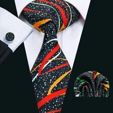 Black 100% Pure Silk Neck Tie Cuff-links & Handkerchief Set Coloured  Swirls