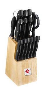 RENBERG 15tlg Messer-Set Brotmesser Kochmesser 6 Steakmesser Messerblock Schere