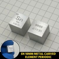 1PC 99.99% High Purity Tin Sn Metal Carved Element Periodic Table 10mm Cube