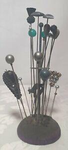 JOBLOT OF VINTAGE HAT PINS & HOLDER - various hat pins vintage & modern 15+