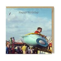 Nostalgic Unique Vintage Retro Birthday Card, Blue Jet Fairground Ride, Honovi