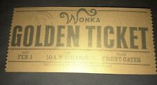 Willy Wonka Golden Ticket Charlie & The Chocolate Factory Metallic Paper Ticket