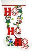 "Needlepoint Handpainted LEE Christmas STOCKING Ho Ho Ho 23"""
