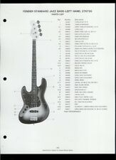 Original Fender Standard Jazz Bass Left Hand Guitar Dealer Sheet(s) Parts List