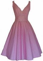 Ladies 40's 50's Vintage Retro Style Cotton Pink Polka Dot Party Tea Dress New