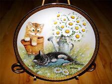 """Garden Delights"" by Giordano Franklin Mint Cat Kitten Daisey Flower Plate"