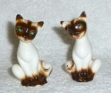 Vintage Cat Kitten Siamese Bone China Salt Pepper Shakers Green Eyes