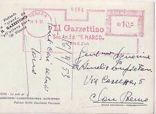 ITALIA 1953 AFFRANCATURA ROSSA IL GAZZETTINO-OGNI SPORT SU CARTOLINA VENEZIA