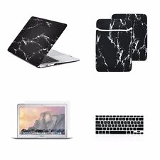 "4 IN 1 Macbook Air 13"" Black Marble Matte Hard Case + Keyboard Cover + LCD + Bag"