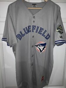 BLUEFIELD BLUE JAYS TORONTO GAME USED WORN ROAD JERSEY Sz 46 APPY LEAGUE DEFUNCT