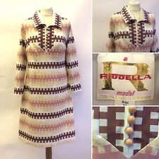 Vintage 60s Ridella Crema Marrón Gráfico Abuela Vestido Talla 12 14 pasará Mod